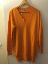 Max Mara Bright Orange 100% Cashmere V-Neck Sweater, Size L, NWT! $745
