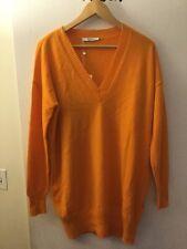 Max Mara Bright Orange 100% Cashmere V-Neck Sweater, Size L, NWT! $745