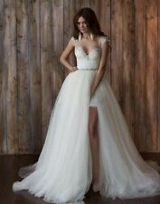 Removable Train Tulle Wedding Dresses Formal Bridal Gowns Custom 2 4 6 8 10 12++