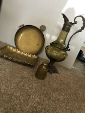 5 Items Of Antique Brass (dish, Weight, 2 Plates, Decanter)