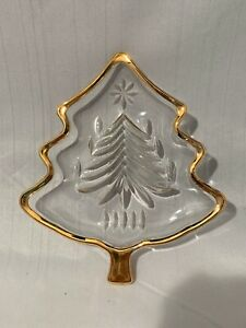 "Mikasa Yuletide Tree Gold 5"" Sweet Dish WY156/503 Christmas Tree Glass Dish"