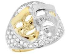 Men's 10K Two Tone Gold Simulated Diamond Laugh Now Cry Later Pinky Ring 18MM