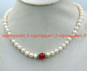 Beautiful 7-8mm Real White Baroque Pearl & 10mm Red Jade Beads Necklace 18'' AAA