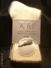 2 pairs Womens K Bell Soft 22% Angora Socks 9-11 NWT 1 Ivory 1 Blue Casual