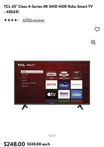 "TCL 4-Series 43"" LED 4K Roku TV/Philips Blu Ray/36"" Onn Soundbar System Bundle"