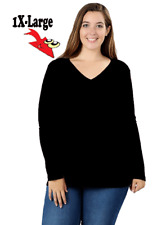 WOMEN PLUS COTTON V- NECK LONG SLEEVE T-SHIRT **RELAXED FIT** 3XL