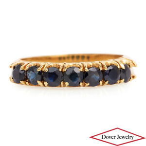 Estate 0.84ct Sapphire 18K Gold Band Ring NR