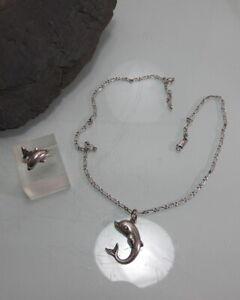 Konvolut Kette + Ring + Anhänger Korifidis 925 Silber Delphine Dolphin Top Verar