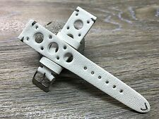 Pure White Leather racing / rally strap, Leather Watch Band - 20mm Lug