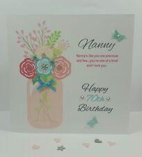 Personalised Handmade Nan Nanny Grandma 50th 60th 70th Birthday Card Flower Vase