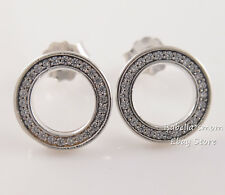 Authentic FOREVER PANDORA Silver HALO Circle Earring Studs 290585CZ NEW w POUCH!