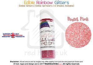 Rainbow Glitter   100 % Edible   Cake Decorating Craft   7 Grams   Pastel Pink