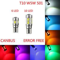 T10 LED 501 W5W CAR SIDE PARK LIGHT BULB ERROR FREE CANBUS 6SMD 10SMD LED XENON