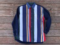 Vintage 90s Nautica Sailing Long Sleeve Colorblock Patch Shirt Size XL Sail VTG