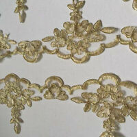 10 Yards Gold Thread Embroidered Lace Trims Ribbon Dress Sewing Supply 10cm Wide