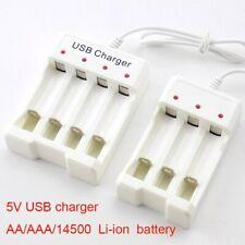 3/4 ranura de carga rápida USB Cargador Batería Li-Ion para Batería AA/AAA 14500 1.2V