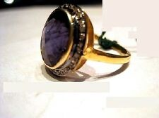 Vintage Reproductions Sterling silver Ring Natural Iolite & Real Diamond Gold