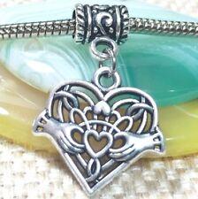 CLADDAGH_Bead for Silver European Charm Bracelet_Irish Ireland Friendship Celtic