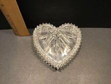 Wedgwood Full Lead Crystal Heart Shaped Glass Trinket Jewelry Box
