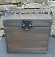 Vintage upcycled, Industrial wood treated black washed chained, pressure tap box