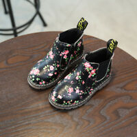 UK Baby Kids Girls Warm Flats Printed Fur Lined Ankle Boots Chelsea Martin Shoes