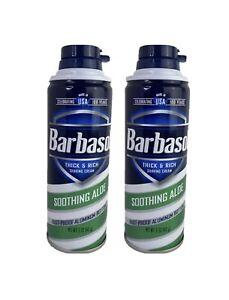 Barbasol Thick & Rich Shaving Cream Soothing Aloe 5 oz 142g New 2 Pk