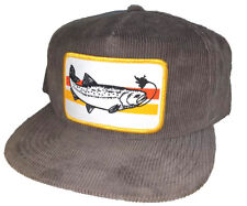 31d7d679d1636 Trout Gray Corduroy Snapback Patch Hat Cap Fly Fishing Fisherman
