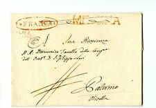 Italy Stampless Cover 1832 Messina>Palermo w/ outlined Franca cancel - ph109