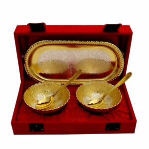Brass Silver And Gold Plated Designer Bowl Set With Serving Spoons And Trays