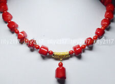 Real Natural Coral 10-12mm Red Coral Gems Beads Pendant Necklaces 18""