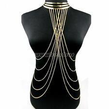 New Gold Women Body Chain Bikini Waist Beach Harness Slave Necklace Choker