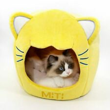 Pet Dog Cat House Beds Kennel Tent Cushion Cat Head Shaped Kitty Indoor House