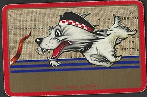 """Swap /Playing Vintage Card    Scottie Dog  """"See you Later"""""""