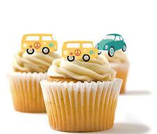 ✿ 24 Edible Rice Paper Cup Cake Toppings, Cake decs - Beetle camper van ✿