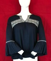 MONSOON Women's Black 3/4 Flare Sleeve Viscose Blouse Top UK 12 P2P 20""