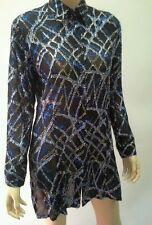 LIZ DAVENPORT Petites Size 12 Tinsel Long Sleeve Top Black Silver Blue NWOT $399