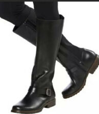 KENNETH COLE Womens 10JENNY Black Leather Stretch Tall Riding Boot Low Heel $150