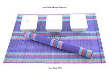 6 Manteles Individuales Hecho a mano de bambú hecha a mano Mesa esteras, púrpura-arco iris, P061