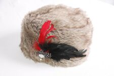 Fantastic Soft Warm Brown Shades Large Persian Hat w Feather&Diamond(S318)