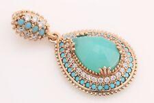 Turkish Jewelry Drop Aquamarine Turquoise Topaz 925 Sterling Silver Pendant