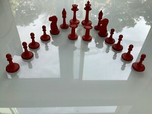 Antique Bone Chess Set of Red Bone Carved Chess Pieces ~ 16