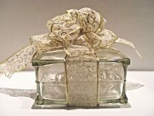 COLLECTIBLE CLEAR GLASS LIGHTED BLOCK CHRISTMAS RIBBON BOW GIFT W/ LIGHTS
