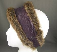 Dark Purple faux fur lined quilted ear warmer muffs head wrap hat cover ski