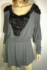 COOPER ST Size 12 Grey Long Sleeve Top Black Ribbon Detailing NEW w/tags RRP$205