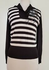 ESPRIT Black/White Stripe with Sequin Detail Jumper.M/!0