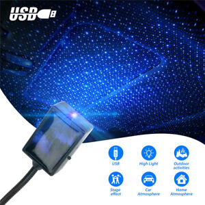USB Car Interior LED Light Roof Room Atmosphere Starry Sky Lamp Star Projector