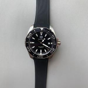 Tag Heuer Aquaracer Black Dial Men's Rubber Watch WAY111A.FT6151 40.5mm