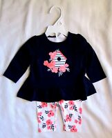Gymboree Baby Boats & Blooms Flower Bird Shirt & Pants Outfit Set Sz 6 12 mo NEW