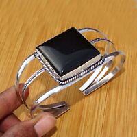925 Sterling Silver Plated Black Onyx Bangle Cuff Bracelet Jewelry BANG14