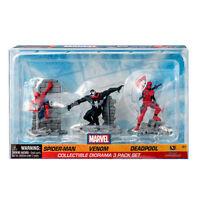 Marvel Comics Spider-Man Venom Deadpool Diorama Figure Kids Toys Set 3-Pack NEW